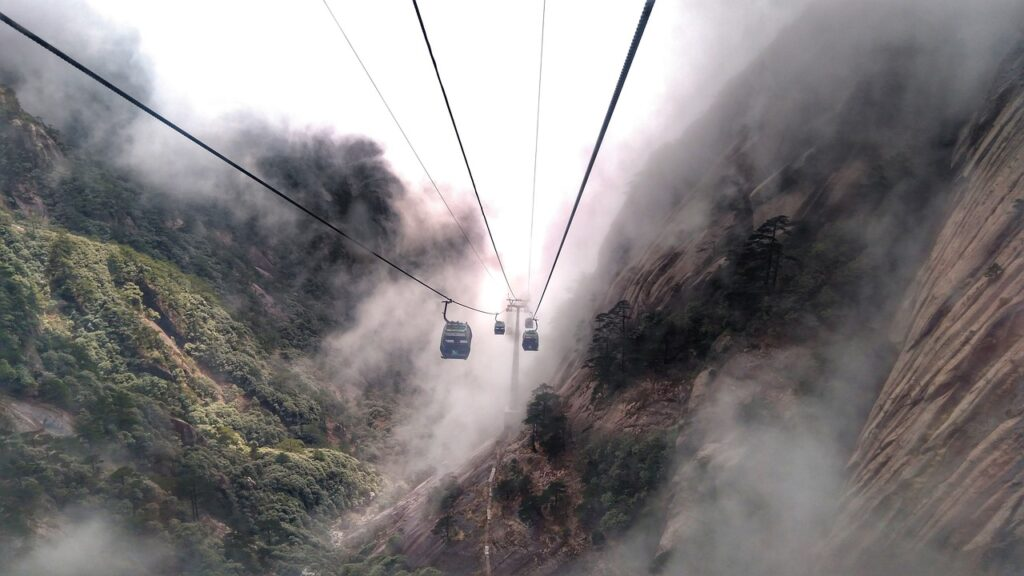 Teleférico, montes Huangshan