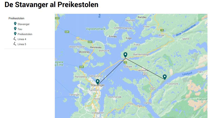 Mapa de Stavanger al Preikestolen